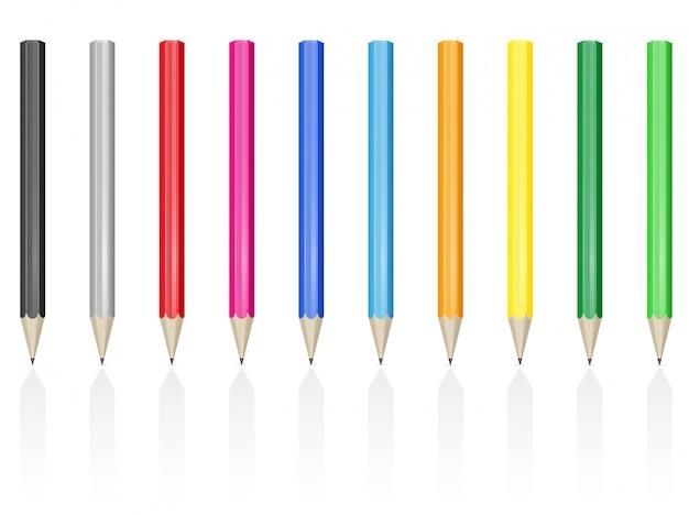 Цветные карандаши, ручки, векторная иллюстрация