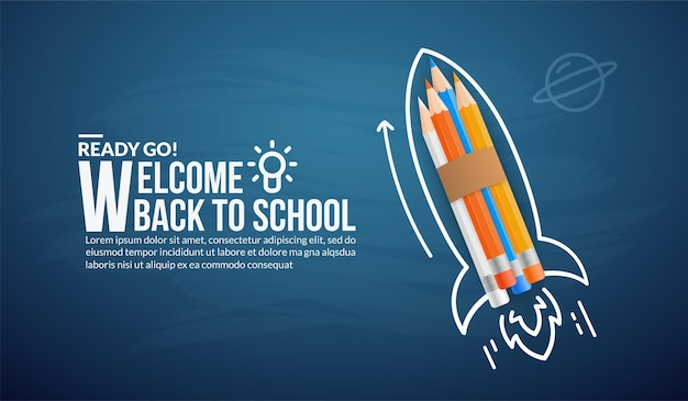 Colour pencils rocket launching to space, welcome back to schoo