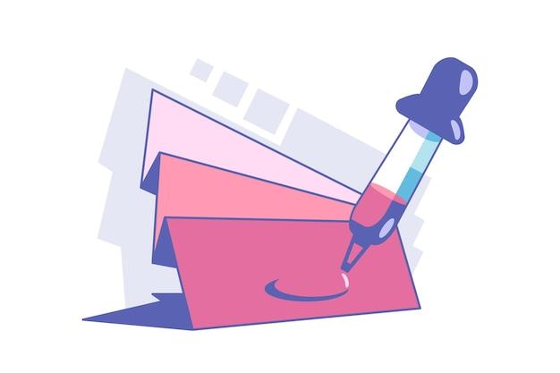 Инструмент выбора цвета векторные иллюстрации. пипетка, собирая краски плоский стиль. образцы палитры для дизайна интерьера. cmyk и концепция украшения