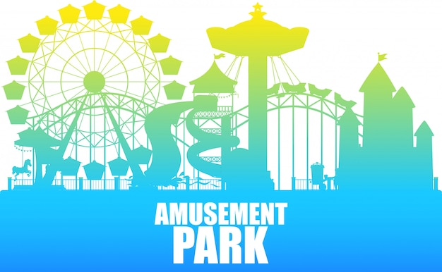 A colour silhouette amusement park template
