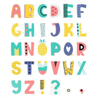 Coloured alphabet design