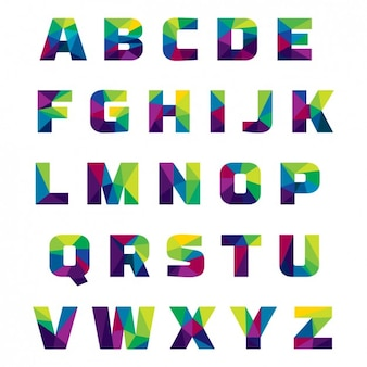 Coloured alphabet made of polygonal shapes