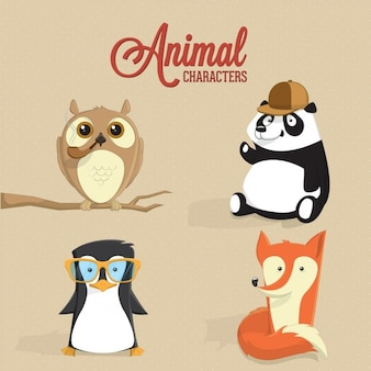 Coloured animal characters