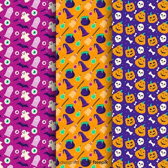 Coloured background of flat halloween pattern collection