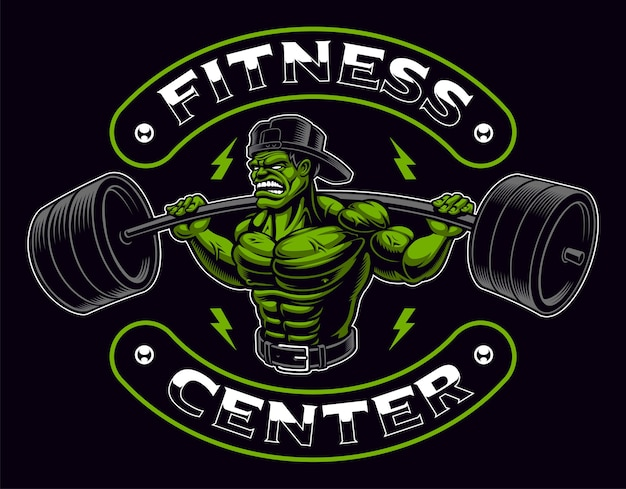 Coloured badge of a bodybuilder with barbell. text is on the separate layer and easy removable.