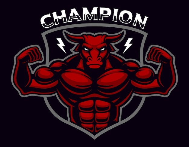 Coloured badge of a bull bodybuilder on the dark background. layered, text is on the separate layer.