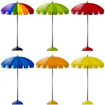Coloured beach umbrellas collection