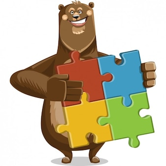 Coloured bear with a puzzle