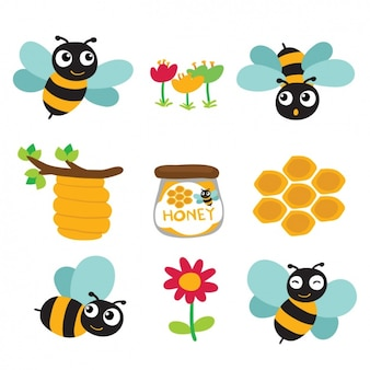 Coloured bees and honey designs