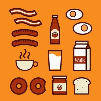 色とりどりの朝食要素