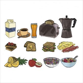 Элементы завтрака цветных