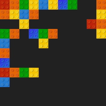 Coloured bricks on black background
