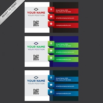 Coloured business cards collection Free Vector
