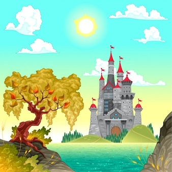 Coloured castle background