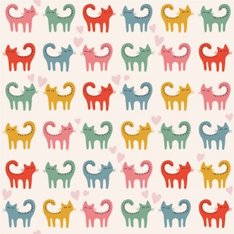 Coloured cats pattern design