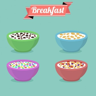 Coloured cereal bowl collection