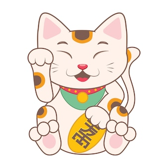 Coloured chinese cat design