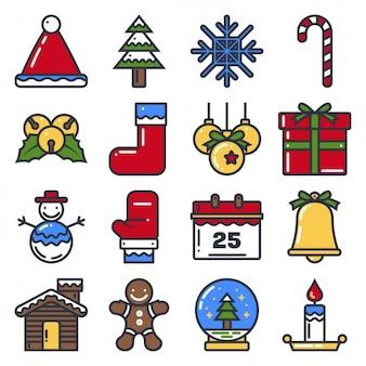 Coloured christmas icons