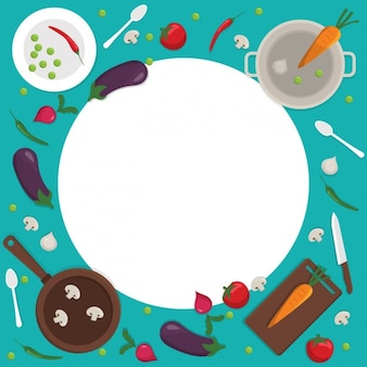Coloured cooking background with a rounded frame Free Vector