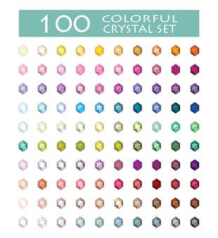 Coloured crystals set