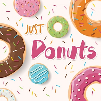 Coloured donuts background design