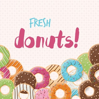 Coloured donuts background