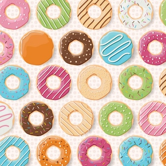 Coloured donuts pattern design