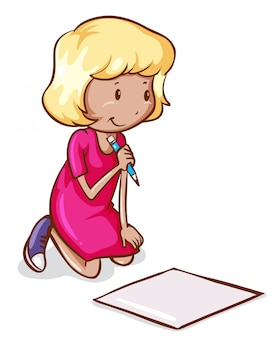 A coloured drawing of a girl reading and writing