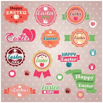 Coloured easter labels collection