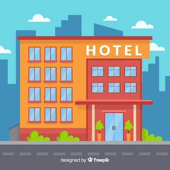 Coloured flat design hotel building