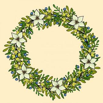 Coloured floral wreath frame