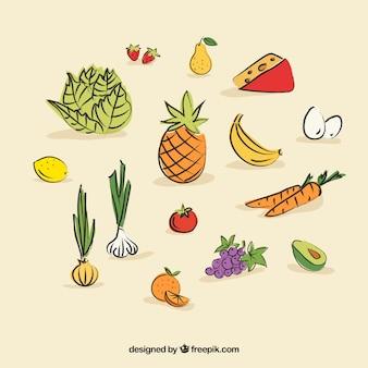Цветное fuits и вареные овощи дизайн