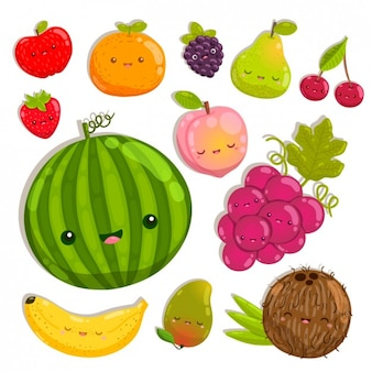Coloured happy fruits