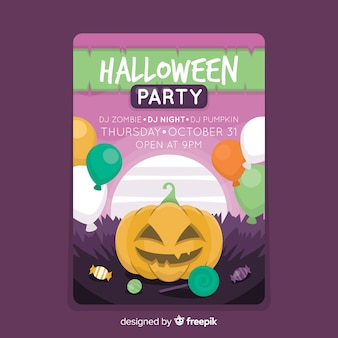 Coloured happy pumpkin halloween party poster