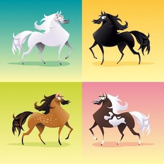 色とりどりの馬コレクション 無料ベクター