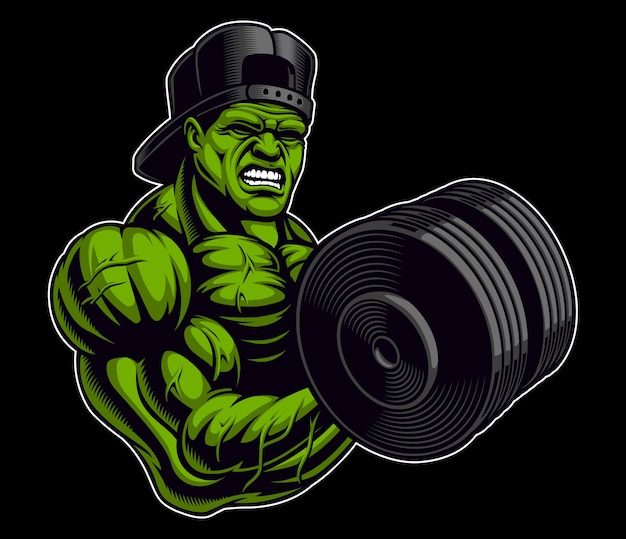 Coloured illustration of a bodybuilder with dumbbell,  on the dark background.