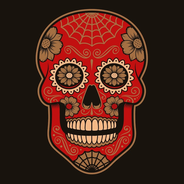 Coloured illustration of mexican sugar skull on a dark background.each colors are in a group.