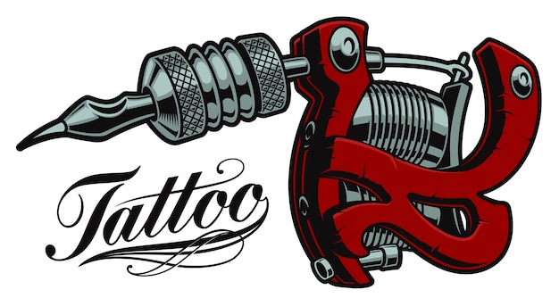 Coloured  illustration of a tattoo machine on a white background. all items are in separate groups.