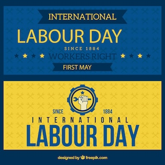 Coloured labor day banners