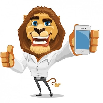 Coloured lion with a mobile phone