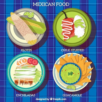 Coloured mexican food plates