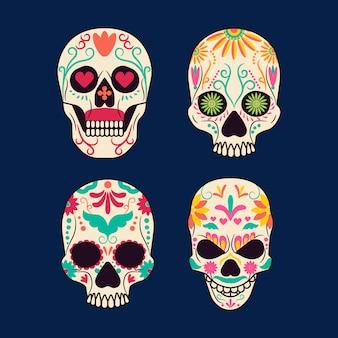 着色されたメキシコの頭蓋骨のコレクション