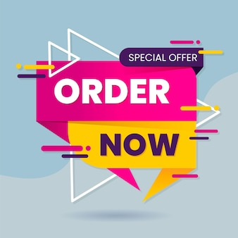 Coloured order now banner template