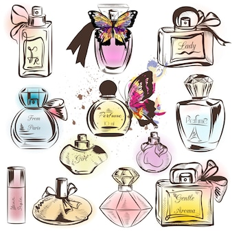 Coloured perfume bottles