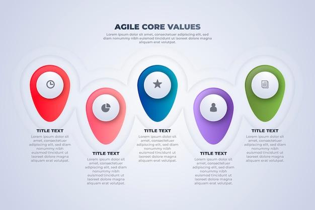 Puntina colorata agile infografica