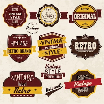 Coloured retro labels collection