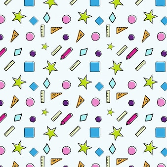 Coloured school elements pattern design