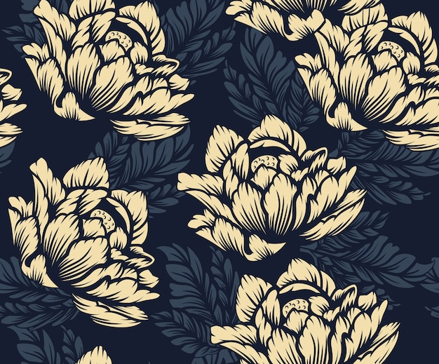 Coloured seamless floral pattern on the dark background. ideal for printing on fabric.