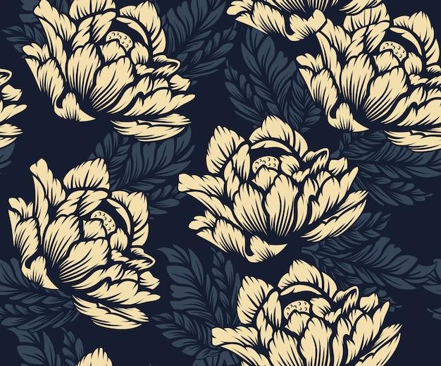 暗い背景に色のシームレス花柄。布地への印刷に最適です。