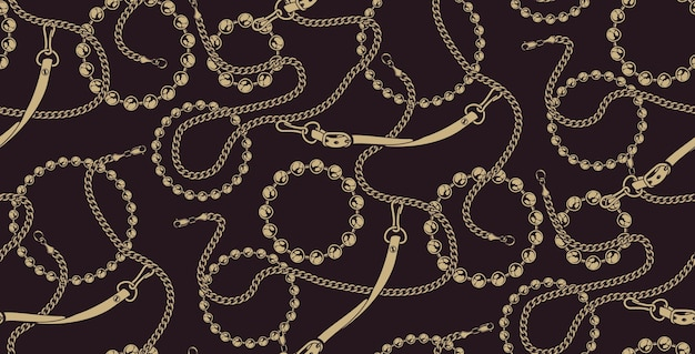 Coloured seamless pattern of chains on the dark background. ideal for printing on fabric.